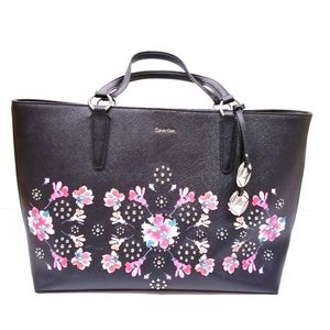 Calvin Klein Floral Studded Saffiano Leather Tote